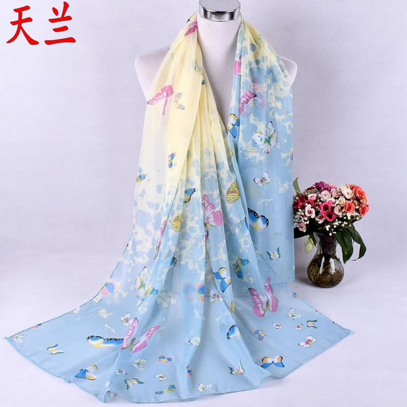 Spring Summer Forest Walking New Seven Color Butterfly Printed Lady Chiffon Scarves