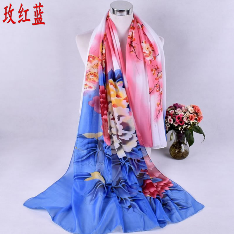 2018 New Model Magpie Peony Printed Curling Blue Chiffon Scarf 100x170cm