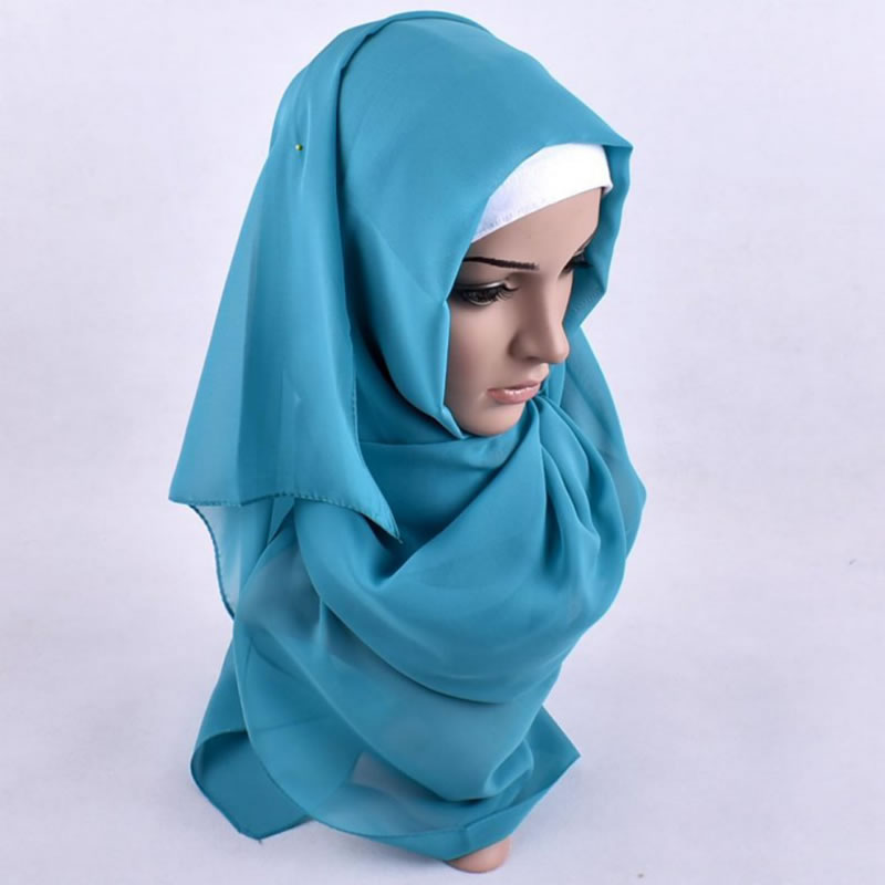 Middle East Designed Pure Color Printed Curling Blue Yellow Muslim Hijab Chiffon Scarf
