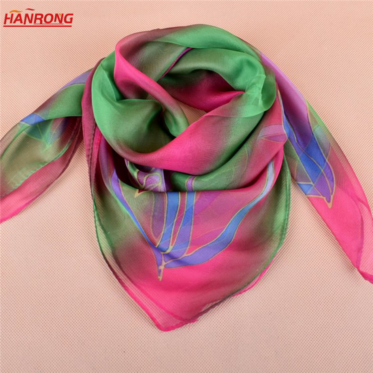 Colorful Leaves Digital Printed Plain Lady Small Office Soft Square Chiffon Scarf