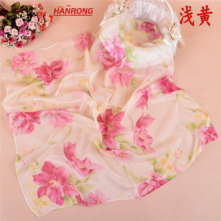 Spring Summer New Peony Printed Business Small Squre Chiffon Scarf 70x70cm