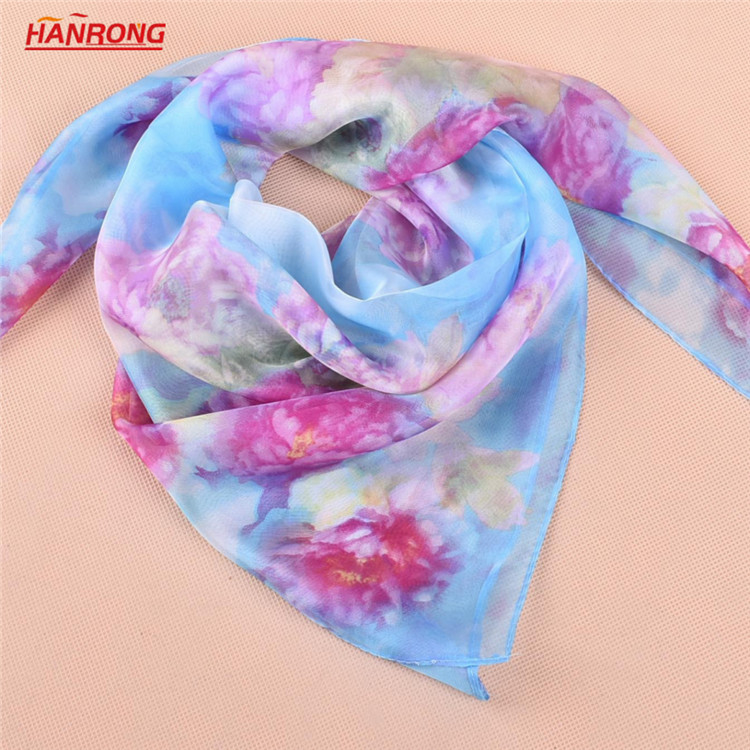 Italy Beautiful Peony Printed Office Elegant Small Soft Blue Square Chiffon Scarf