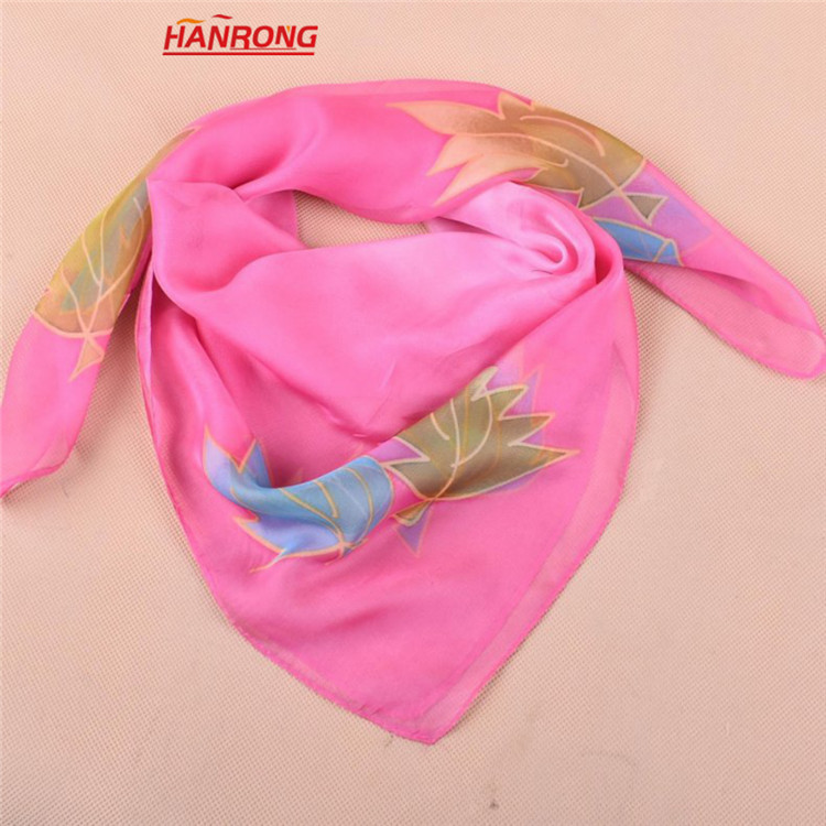 European New Style Leaf Flowers Printed Business Small Square Chiffon Scarf Shawl