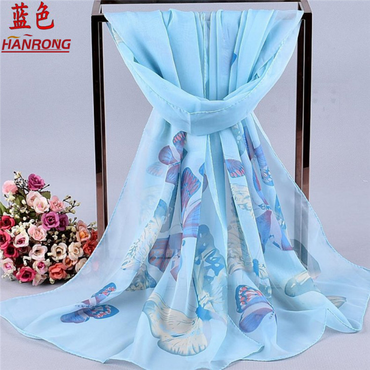 Factory Supply Simple Elegant Butterfly Printed European Style Lady Chiffon Scarf