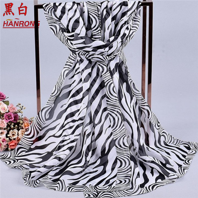 High Quality Zebra Printed Wholesale Spring Autumn Curling White Chiffon Scarf