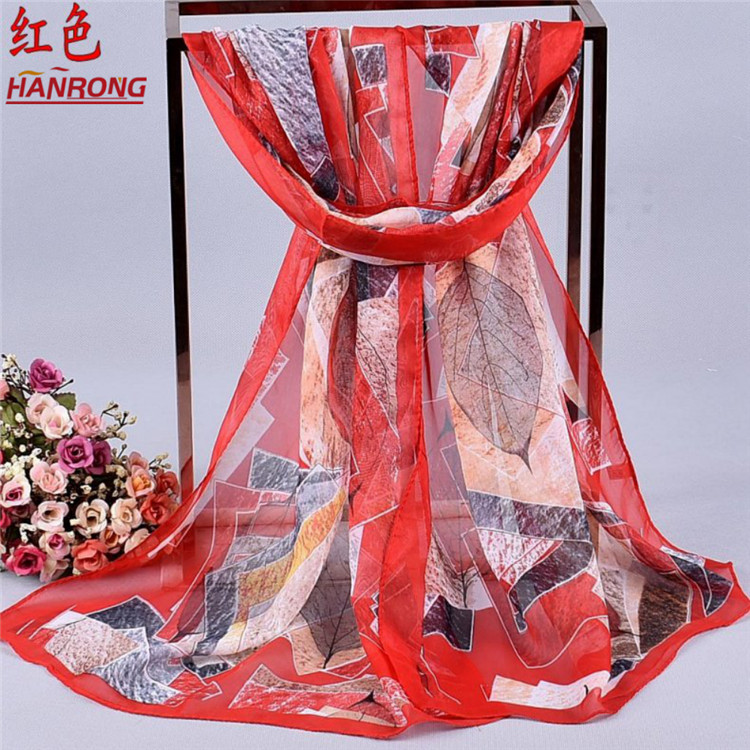 Customized New Leaves Geometric Square Curling Red Chiffon Outside Trip Scarf