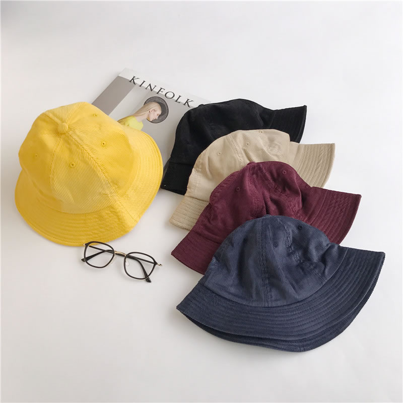 Lady Summer Corduroy Korean Casual Wild Sunscreen Sun Hat and Fisherman Hat