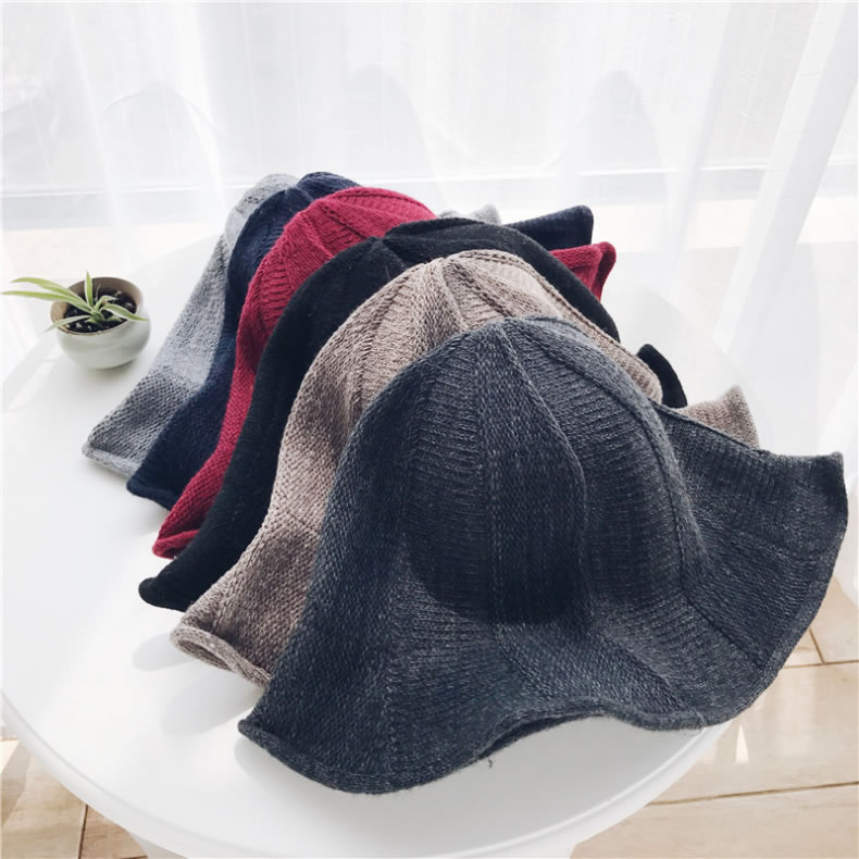 Custom Design Autumn Winter Mixed Color Plain Width Brim Lady Wool Fishing Hat