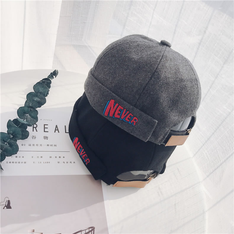 Hip Hop English Letter Embroidered Woolen Pumpkin Shape Black Grey Cap