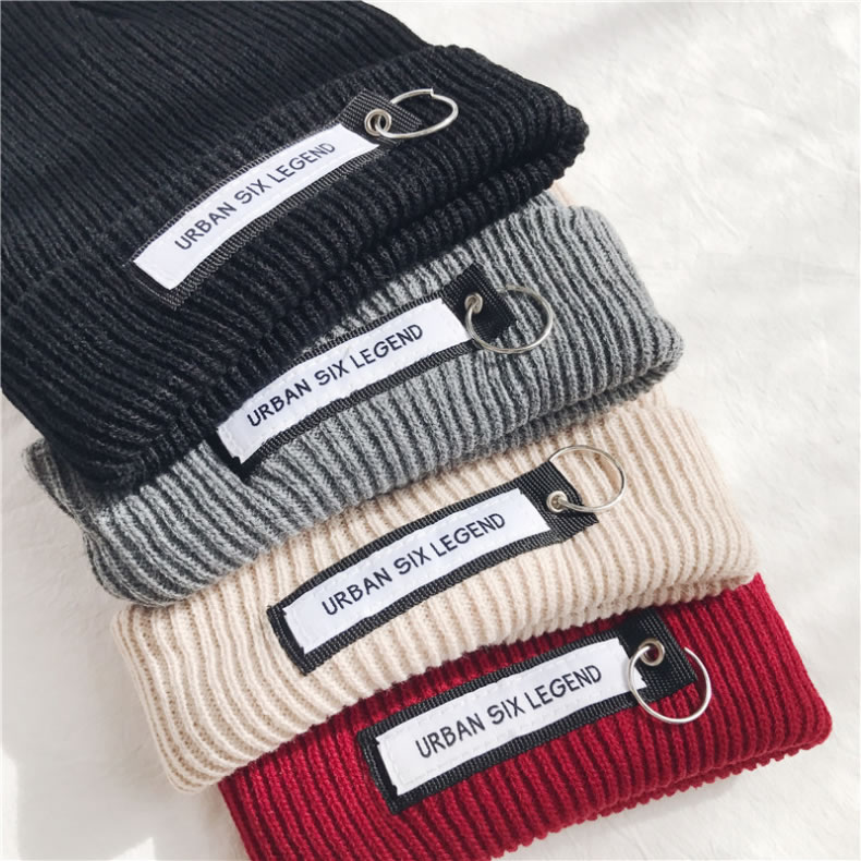 Autumn Winter New Letter Pattern Iron Ring Pure Color Warm Applique Wool Knit Cap