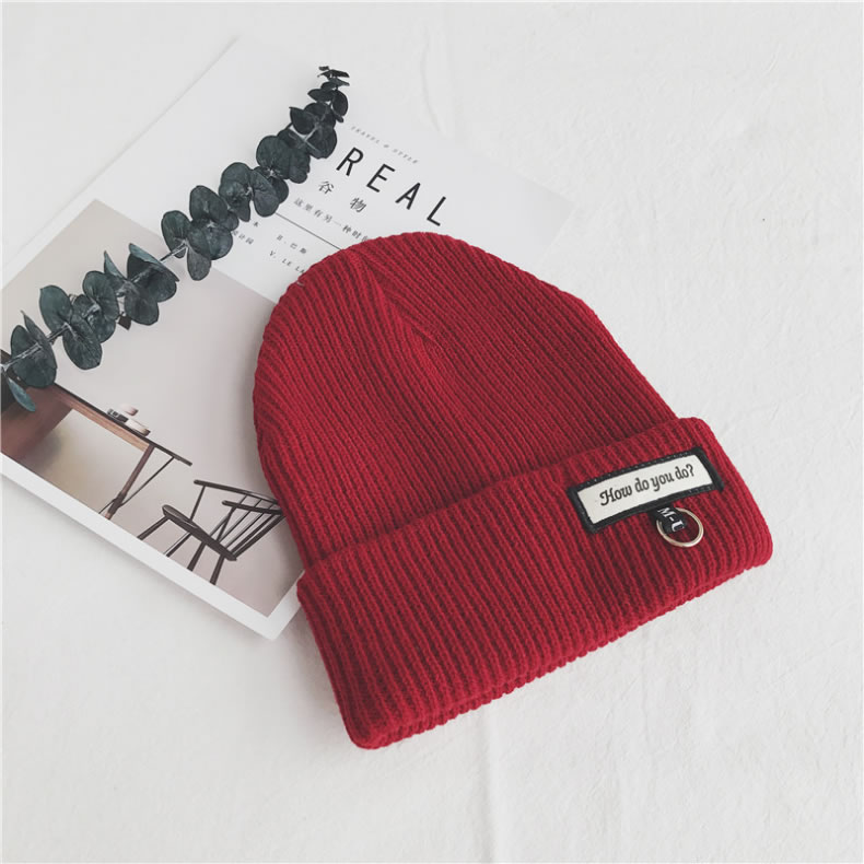 Letter Pattern Printing Party New Leisure Wild Wool Black White High Knit Cap