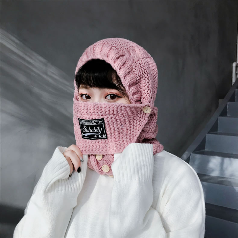 Female Winter Fashion High Thickness Warm Mask Windproof Collar Ridding Knit Cap
