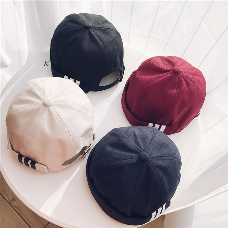 Male Outdoor Leisure Sailor Watermelon Type Three Sripe Printing Curling Cotton  Cap