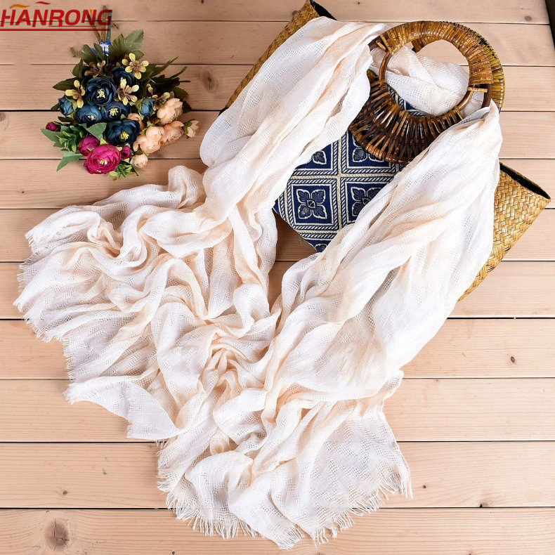 European Casual Double-color Transverse Stripe Fringe Cotton Scarf For Lady