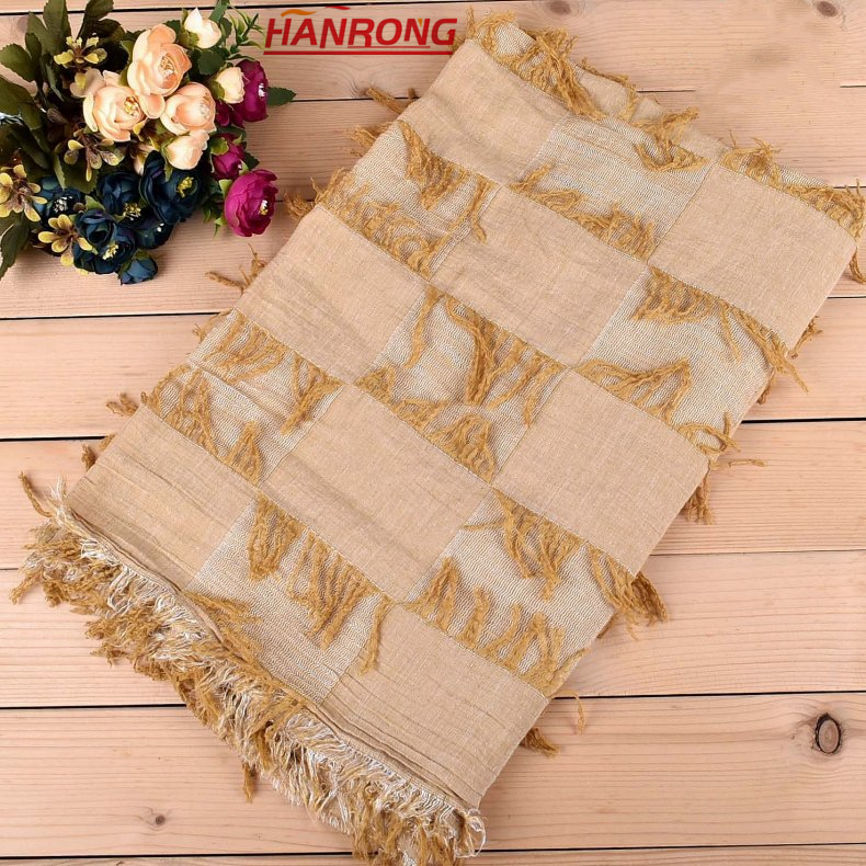 Latest Customized Twill Fabric Casual Tie Dye Travel Fringe Female Red Cotton Scarf