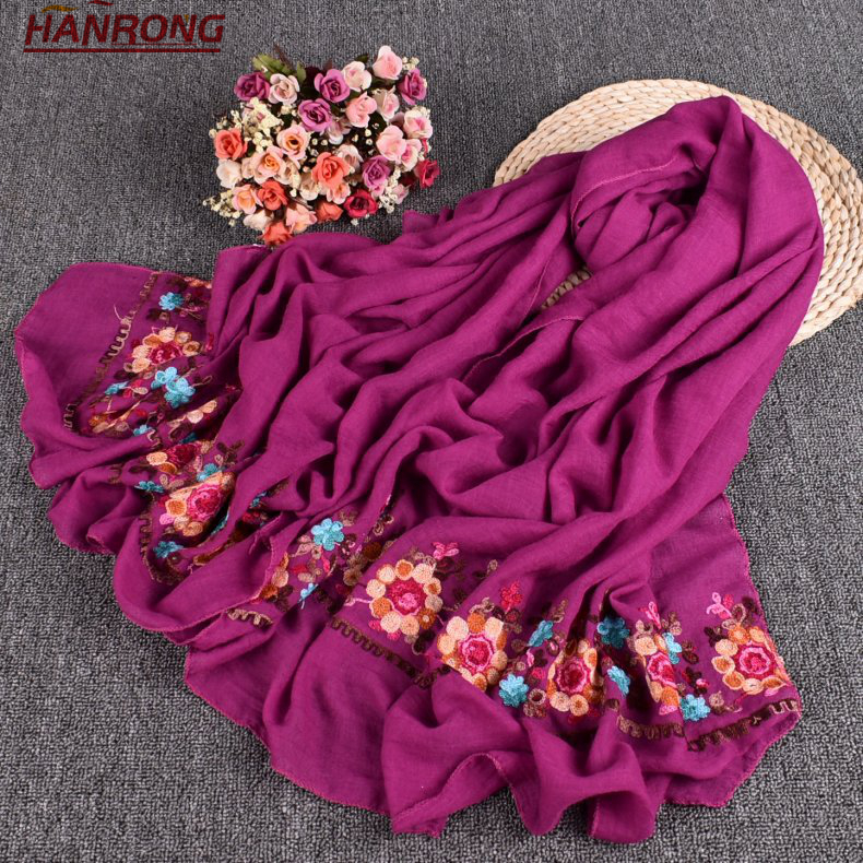 Latest New Pure Color Sunflower Printing Plain Embroidery Curling Cotton Scarf