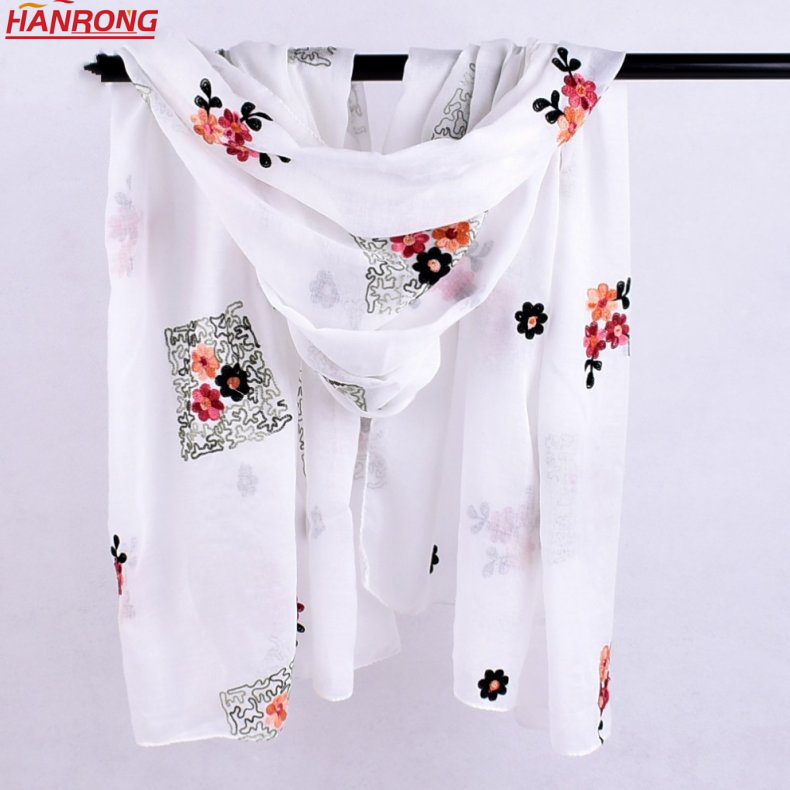 Lady Spring Summer Special Embroidery Chinese Style Plain Long Cotton Scarf
