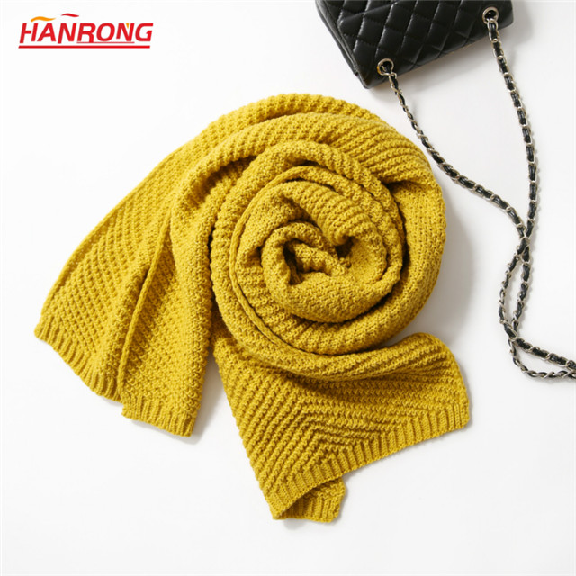 US Street Autumn Winter New Pure Color Knitted Warm Long White Acrylic Scarf