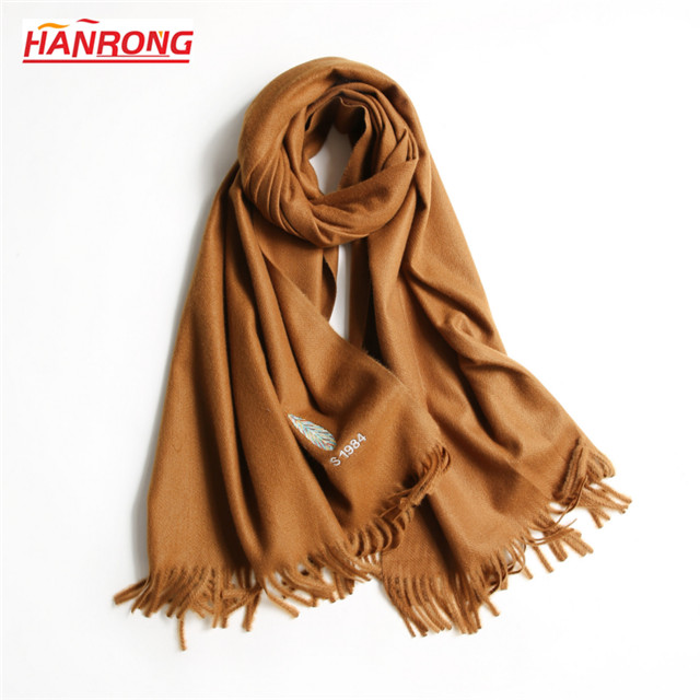 Lady New Arrival Feather Knitted Embroidery 100% Acrylic Warm Festival Scarf
