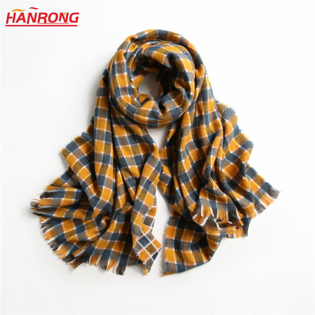 Mixed Color Checked Autumn Winter European Fringed Woven Acrylic Neck Scarf