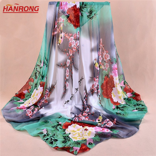 Gradual Color Chinese Style Peony Flower Print Square Chiffon Scarf