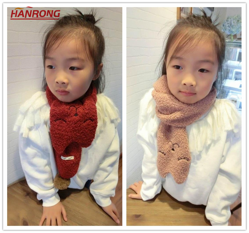 Seoul Popular Kids Cute Colorful Cartoon Cat Warp Knitting Embroidery Princess Wool Scarf