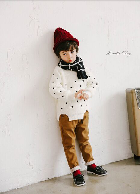 Shanghai Winter New Fashion Hand Painting Plaid Wool Knitting Pastoral Children Scarf