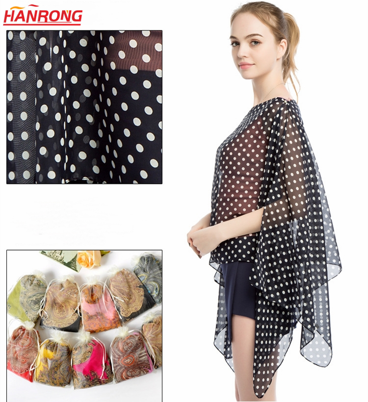Lady Summer Sunscreen Point Dots Printing Plain Transparent Beach Viscose Scarf Shawl
