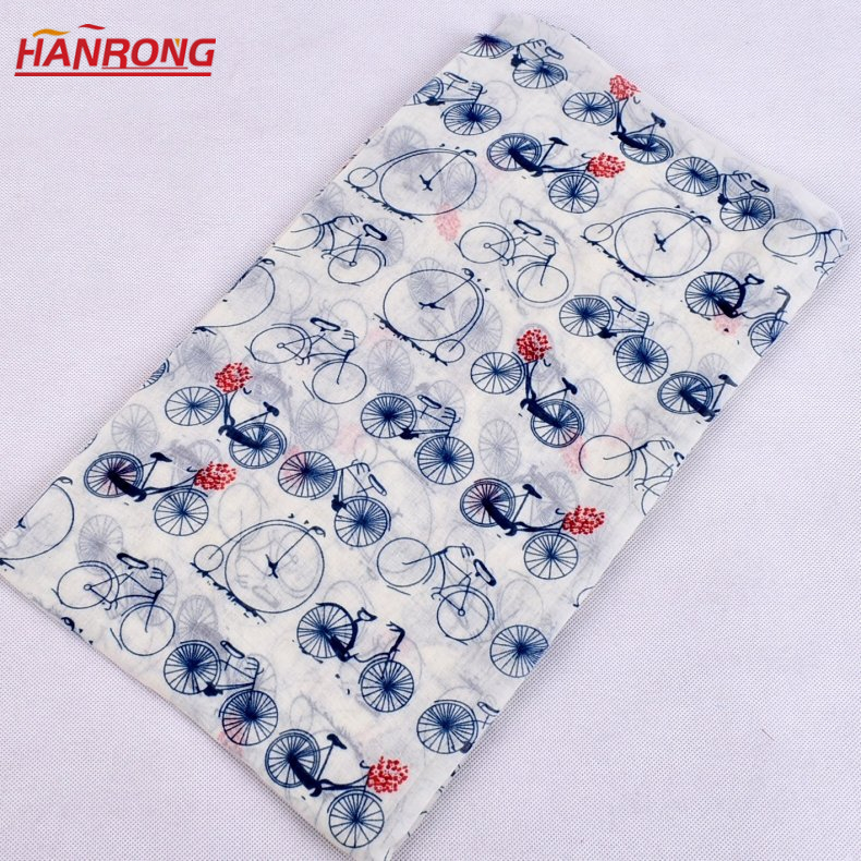 Outside Travel Cartoon Bicycle Pattern Printed Wholesale Plain Voile Scarf