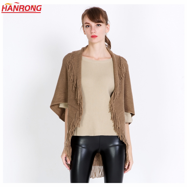 New Europe and the US Fashion Pure Color Warp Knitting Fringe Sleeved Blouse Acrylic Shaw