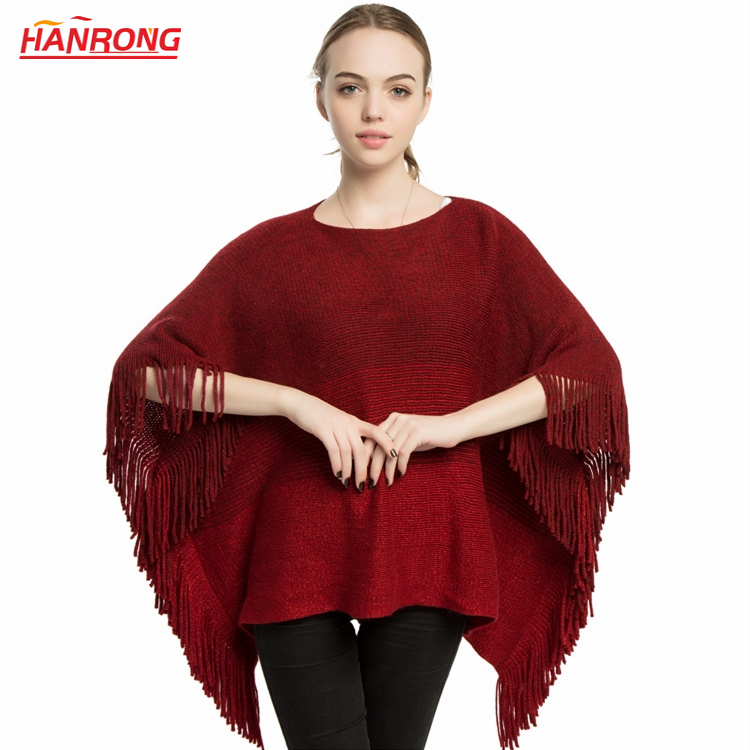 Milan Latest Design Winter Fashion Pure Color Warp Knitting Fringe Long Warm Navy Acrylic Scarf Cape