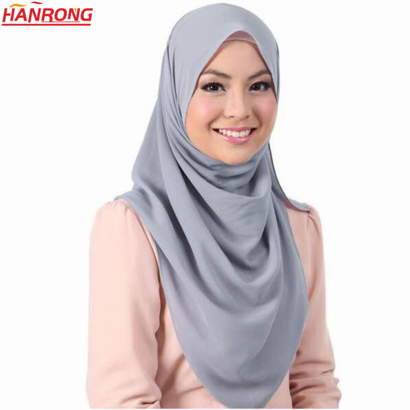 New York Top Quality Pure Color Pearl Chiffon Printed Plain Muslim Lady Customized Hijab