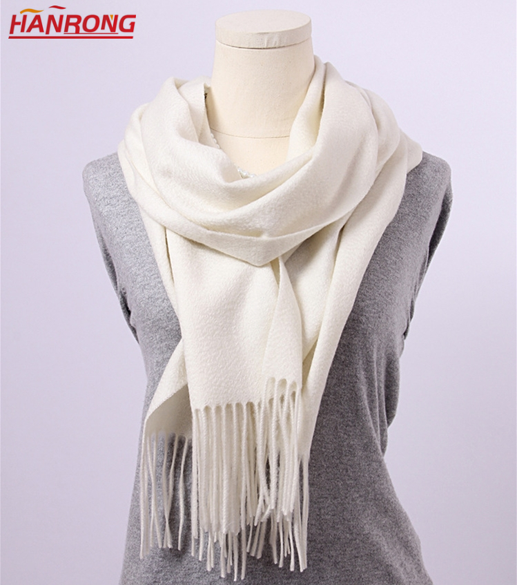 Inner Mongolia Manufacture Classic Water Ripple Fringe Plain Cashmere Scarf Shawl Wholesale