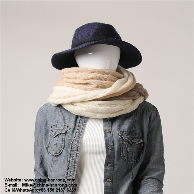 Comfortable Gentle Color Stitching Style Bubbles Hollow Out Knitted Pure Cashmere Scarf