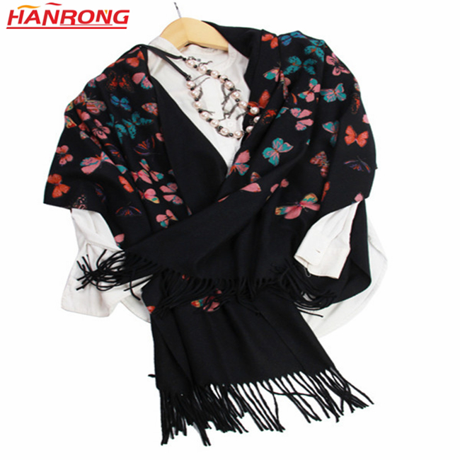 Rome High-end Women Butterflies Printed Twill Fringe Pure Cashmere Pashmina Scarf