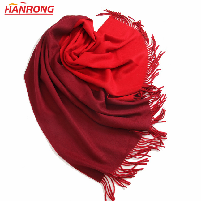 Autumn Winter Women Thicken Double Sided Two Colors Water Ripple Pashmina Shawl Scarf