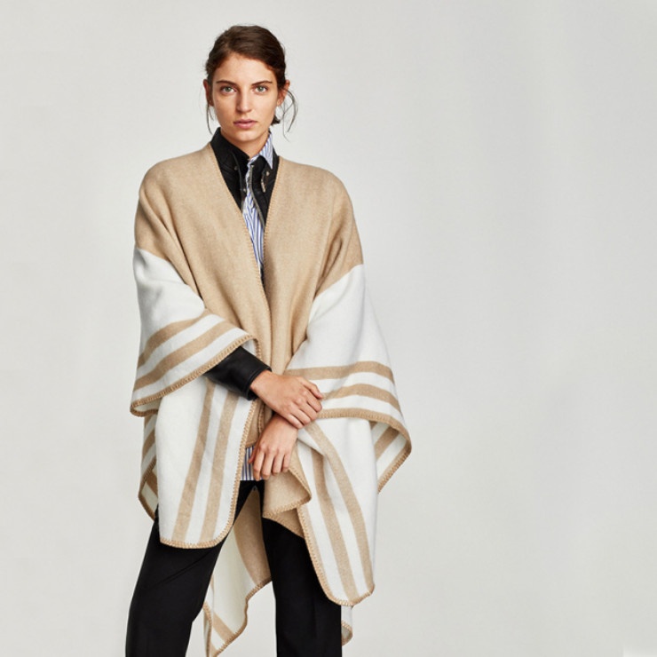 European Latest New Camel Striped Split Cloak Cape Scarf High Quality Fill Knit Cashmere Scarf