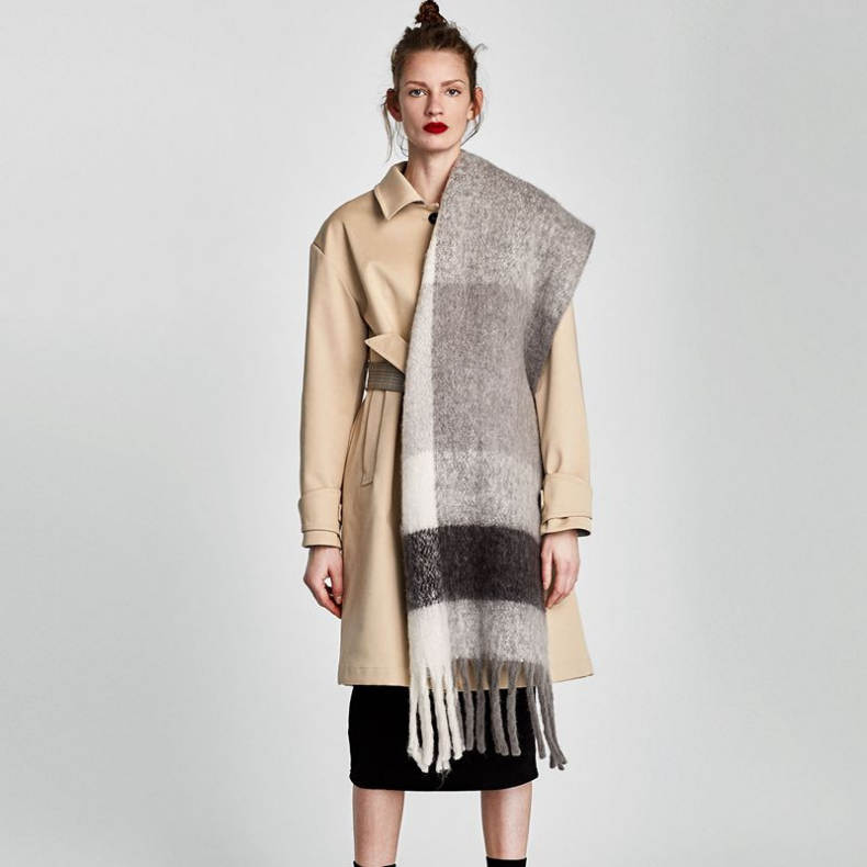 Winter Fall New Thick Plaid Long Tassel Cashmere Scarf Lady Customized Fill Knitting Jacquard Camel Cashmere Scarf