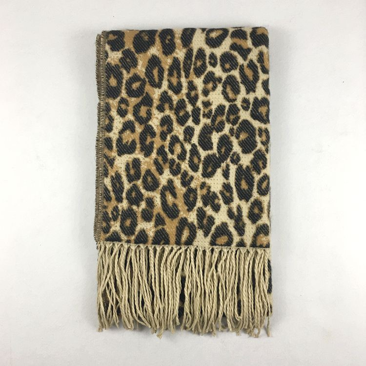 Women Popular Leopard Printing Cashmere Scarf Autumn Winter New Thick Warm Elegant Fringe Cashmere Scarf