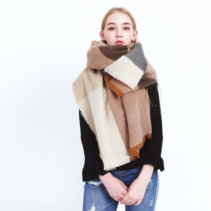 American Top Quality Plaid Cashmere Scarf Lady Autumn Winter Plain Jacquard Stitching Long Fringe Cashmere Scarf Shawl