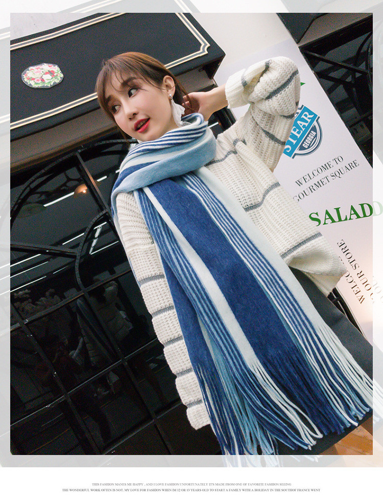 Autumn Winter Cashmere Scarf Lady Stitching Fill Knitting Stripe Jacquard Fringe Pure Cashmere Scarf