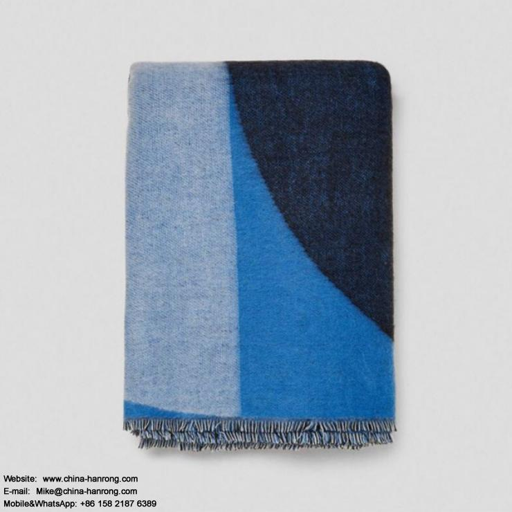 Milan Fashion New Blue Geometric Cashmere Scarf Women High Quality Fill Knitting Jacquard Stitching Pure Cashmere Scarf