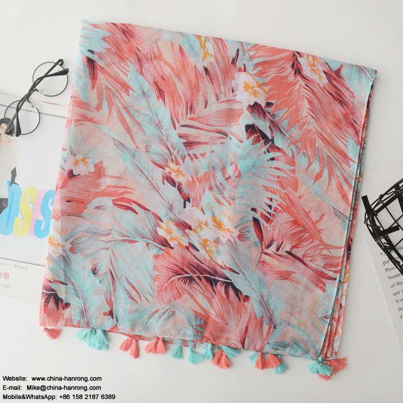 2018 New Red Leaf Print Cotton Scarf Korean Style Warp Knitting Travel Vacation Beach Fringe Cotton Linen Scarf 180x100cm