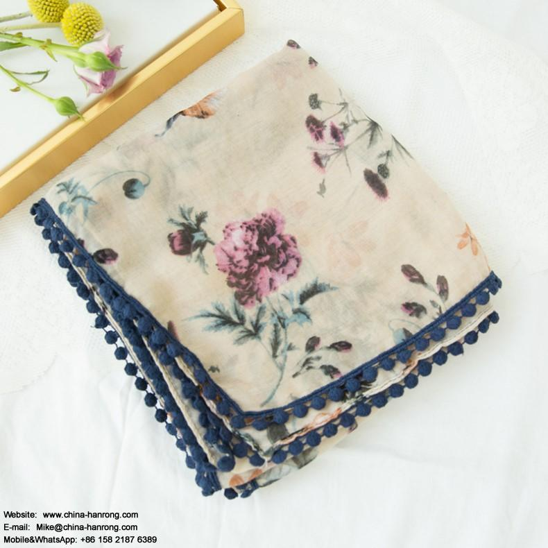 Women New Lace Cotton Scarf Spring Autumn Fill Knitting Vacation Decoration Flower Printed Cotton Linen Scarf