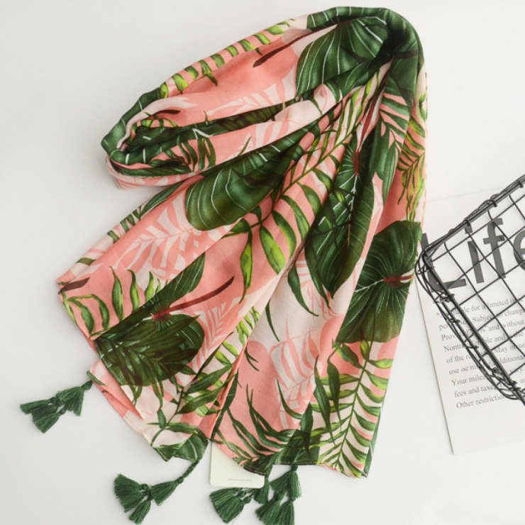 Female Customized Colorful Leaf Printing Cotton Scarf Summer Outdoor Travel Sand Beach UV Protection Fringe Cotton Scarf