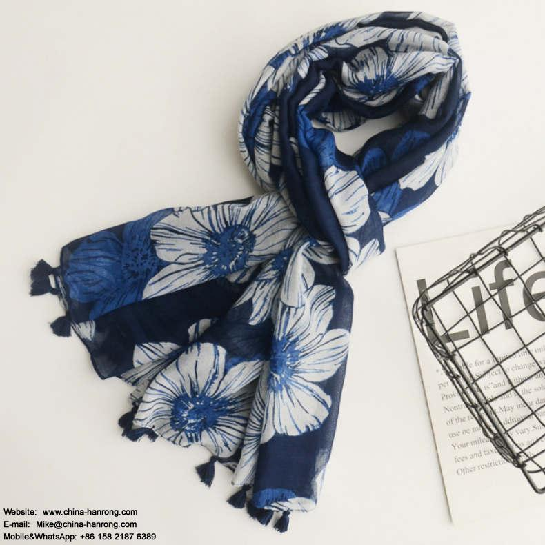 New Design Blue Flower Print Cotton Scarf Women Classic Travel Large Plain Fringe Beautiful Cotton Linen Scarf