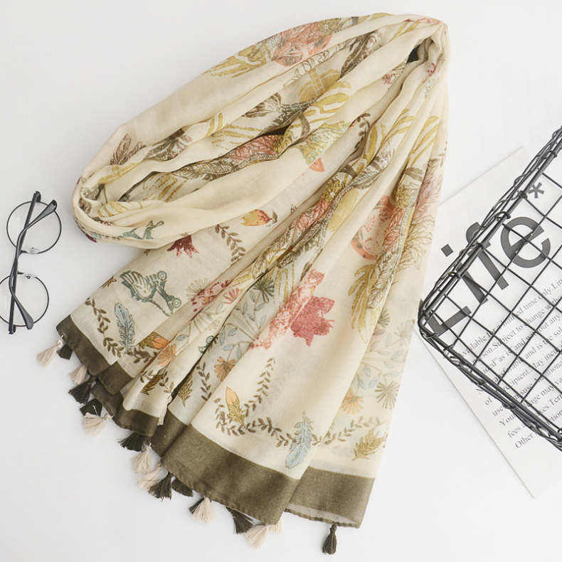 Lady New Fashion Art Cotton Scarf Nepal Style Unique Decorative Sunscreen Long Casual Fringe Cotton Linen Scarf
