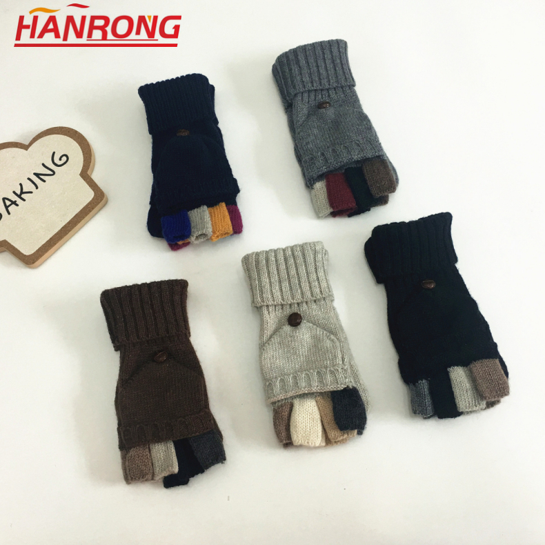 Winter New Keep Warm Flap Half-finger Stitching Color Knitted Wool Gloves Wholesale