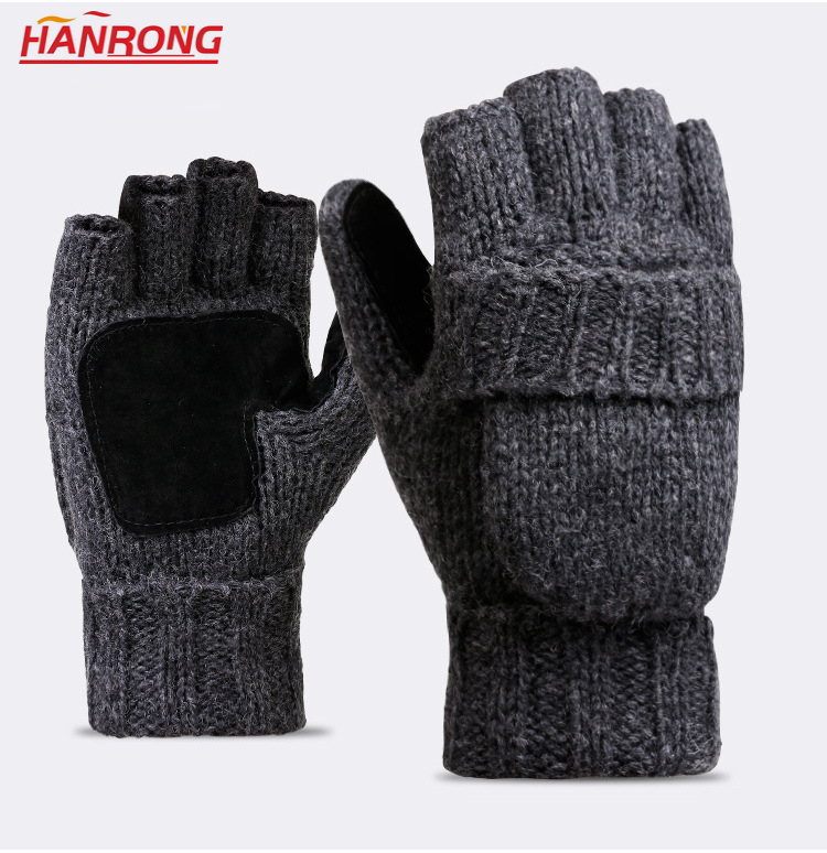 Wholesale New Keep Warm Flap Half-finger Gloves Pure Color Knitted Cashmere Gloves