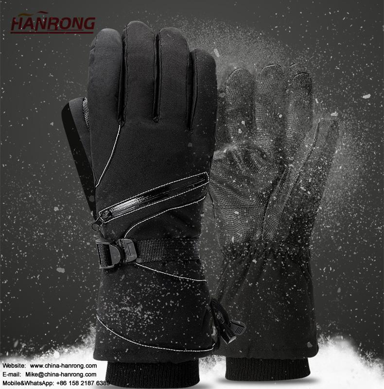 Winter Men Pure Color Keep Warm Gloves Lacquer Waterproof Skiing Gloves Wholesale
